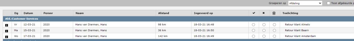 Kilometerdeclaraties Atrea